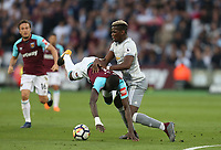 Manchester United's Paul Pogba and West Ham United's Cheikhou Kouyate<br /> <br /> Photographer Rob Newell/CameraSport<br /> <br /> The Premier League - West Ham United v Manchester United - Thursday 10th May 2018 - London Stadium - London<br /> <br /> World Copyright &copy; 2018 CameraSport. All rights reserved. 43 Linden Ave. Countesthorpe. Leicester. England. LE8 5PG - Tel: +44 (0) 116 277 4147 - admin@camerasport.com - www.camerasport.com