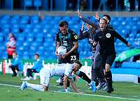 Leeds United's Ezgjan Alioski is tackled by Swansea City's Connor Roberts<br /> <br /> Photographer Alex Dodd/CameraSport<br /> <br /> The EFL Sky Bet Championship - Leeds United v Swansea City - Saturday 31st August 2019 - Elland Road - Leeds<br /> <br /> World Copyright © 2019 CameraSport. All rights reserved. 43 Linden Ave. Countesthorpe. Leicester. England. LE8 5PG - Tel: +44 (0) 116 277 4147 - admin@camerasport.com - www.camerasport.com