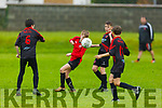 Dynamos Shane Stack controls the ball as he is surrounded by Ronan carroll, Sam Slattery and Aaron Powel of Park FC in the U14 soccer league on Saturday.