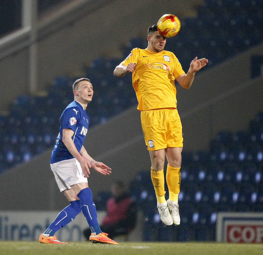 Preston North End's Bailey Wright<br /> <br /> Photographer Mick Walker/CameraSport<br /> <br /> Football - The Football League Sky Bet League One - Tuesday 10th February 2015 - Chesterfield v Preston North End - Proact Stadium - Chesterfield<br /> <br /> &copy; CameraSport - 43 Linden Ave. Countesthorpe. Leicester. England. LE8 5PG - Tel: +44 (0) 116 277 4147 - admin@camerasport.com - www.camerasport.com