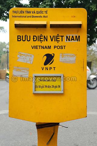 Asia, Vietnam, Hanoi. Hanoi old quarter. Vietnam Post letter box.