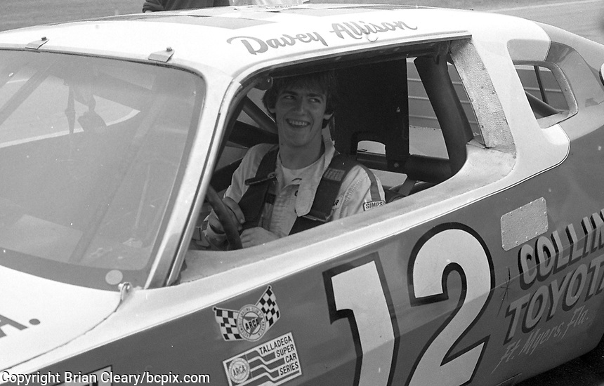 Davey Allison sits in his AMC Matador ARCA race car as he practices at Daytona International Speedway, Daytona Beach, FL, February 1982.  (Photo by Brian Cleary/www.bcpix.com)