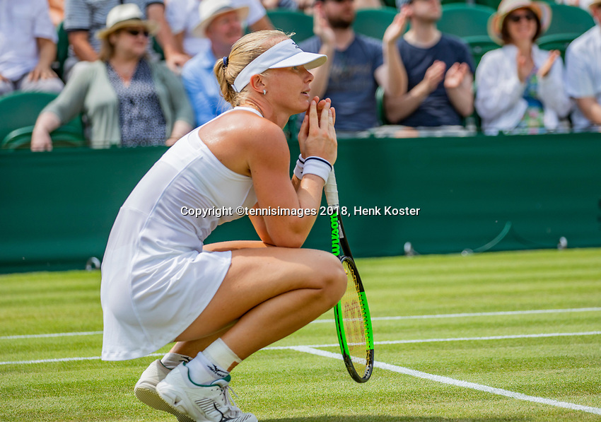 London, England, 9 th. July, 2018, Tennis,  Wimbledon, Womans single fourth round: Kiki Bertens (NED) celebrates matchpoint in her match against Karolina Pliskova (CZE)<br /> Photo: Henk Koster/tennisimages.com