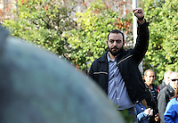 Pictured: A man shows his support at the Athens Polytechinc in Athens Greece. Wednesday 16 November 2016<br /> Re: 43rd anniversary of the Athens Polytechnic uprising of 1973 which was a massive demonstration of popular rejection of the Greek military junta of 1967–1974. The uprising began on November 14, 1973, escalated to an open anti-junta revolt and ended in bloodshed in the early morning of November 17 after a series of events starting with a tank crashing through the gates of the Polytechnic.
