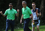 Irelands James Nesbitt and Keith Duffy celebrate <br /> <br /> Golf - Day 2 - Celebrity Cup 2018 - Saturday 1st July 2018 - Celtic Manor Resort  - Newport<br /> <br /> &copy; www.sportingwales.com- PLEASE CREDIT IAN COOKCelebrity Cup 2018<br /> Celtic Manor Resort<br /> 01.07.18<br /> &copy;Steve Pope <br /> Fotowales