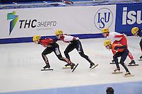 "SHORT TRACK: MOSCOW: Speed Skating Centre ""Krylatskoe"", 13-03-2015, ISU World Short Track Speed Skating Championships 2015, Bianca Walter (#025 | GER), Evgeniya ZAKHAROVA (#058 | RUS), Yara VAN KERKHOF (#051 | NED), Marianne ST-GELAIS (#009 | CAN), ©photo Martin de Jong"