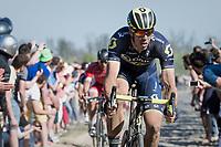 Defending Champion Mathew Haymen (AUS/Orica-Scott) at the Carrefour de l'Arbre sector<br /> <br /> 115th Paris-Roubaix 2017 (1.UWT)<br /> One Day Race: Compi&egrave;gne &rsaquo; Roubaix (257km)