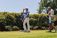 Jordan Spieth (USA) and Pat Perez (USA) depart the first tee box during the round 1 of the Dean &amp; Deluca Invitational, at The Colonial, Ft. Worth, Texas, USA. 5/25/2017.<br /> Picture: Golffile | Ken Murray<br /> <br /> <br /> All photo usage must carry mandatory copyright credit (&copy; Golffile | Ken Murray)