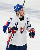 Marek Bartanus (Owen Sound Attack - Slovakia) celebrates. The Suisse defeated Slovakia 2-1 in a 2007 World Juniors match on January 2, 2007, at FM Mattson Arena in Mora, Sweden.
