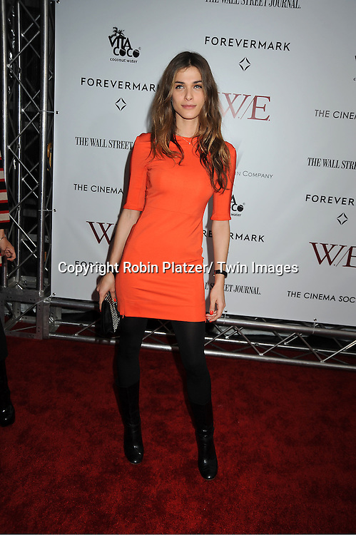 """model Elisa Sednaoui arrives for the New York Premiere of """"W.E."""" on ..January 23, 2012 at The Ziegfeld Theatre in New York City. Madonna directed the movie. The sponsors of the premiere are The Weinstein Company, The Cinema Society and Forevermark."""
