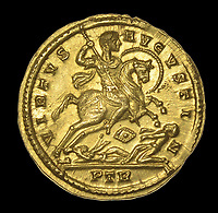 BNPS.co.uk (01202 558833)<br /> Pic:  DixNoonanWebb/BNPS <br /> <br /> The reverse shows Constantine on horseback defeating his enemies at the legendary battle of Milvian Bridge outside Rome - after which he became the first Christian Emperor of the Roman world.<br /> <br /> 1600 year old coin looks as good as new...<br /> <br /> A determined metal detectorist is set to make a small fortune after uncovering an extremely historic and rare Roman gold coin.<br /> <br /> The 4th century AD treasure, carrying the portrait of Constantine I, was found a foot below the surface of a field near Wanstrow, Somerset.<br /> <br /> Constantine was proclaimed Emperor whilst on campaign in York in 306 AD, after the death of his father Constantius - he then took several years to defeat other claiments to the title before uniting the entire Empire and embracing the cult of christianity. <br /> <br /> The gold solidus is one of the first examples of this type to be unearthed in this country, and was discovered close to a Roman road once used for transporting mined lead ore.<br /> <br /> Now, the lucky detectorist is selling it at auction with Dix Noonan Webb, of London, who expect it to fetch over £12,000.