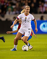 HOUSTON, TX - FEBRUARY 03: Lindsey Horan #9 of the USA is defended by Katherine Alvarado #16 of Costa Rica during a game between Costa Rica and USWNT at BBVA Stadium on February 03, 2020 in Houston, Texas.