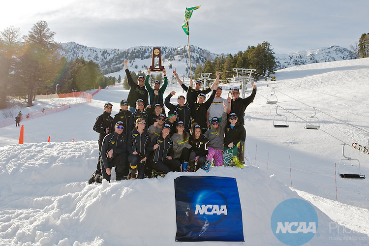 10 MAR 2012: The University of Vermont celebrates following the Men's Alpine Slalom event at the NCAA Division I Men and Women's Ski Championship held at Bridger Bowl hosted by Montana State University in Bozeman, MT. Vermont placed 1st to win the national team title. Brett Wilhelm/NCAA Photos.