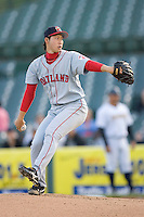 Starting pitcher Junichi Tazawa #16 of the Portland Sea Dogs in action versus the Trenton Thunder at Waterfront Park May 12, 2009 in Trenton, New Jersey. (Photo by Brian Westerholt / Four Seam Images)