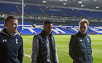 Toby Alderweireld (left), Goalkeeper Michel Vorm & Christian Eriksen of Tottenham Hotspur arrive at the ground during the UEFA Europa League 2nd leg match between Tottenham Hotspur and Fiorentina at White Hart Lane, London, England on 25 February 2016. Photo by Andy Rowland / Prime Media images.