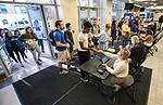 Incoming freshmen and transfer students begin arriving at DePaul's McGrath-Phillips Arena Tuesday, Sept. 5, 2017, for New Student Service Day. Students fanned out across the city to volunteer at dozens of community organizations following the early morning rally on the Lincoln Park Campus. (DePaul University/Jamie Moncrief)