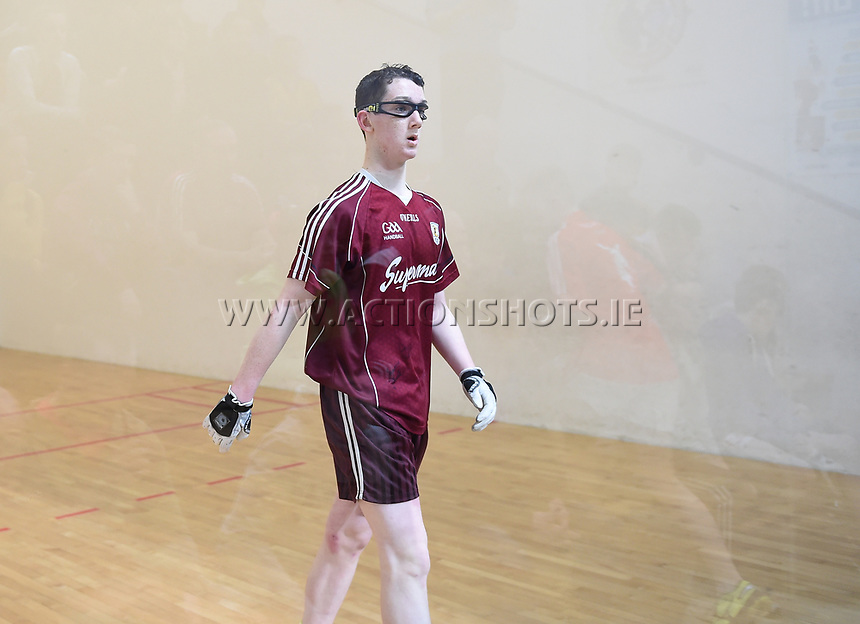 19/03/2018; 40x20 All Ireland Juvenile Championships Finals 2018; Kingscourt, Co Cavan;<br /> Boys Under-14 Singles; Galway (Mikey Kelly) v Cork (Hayden Supple)<br /> Mikey Kelly after winning the match.<br /> Photo Credit: actionshots.ie/Tommy Grealy
