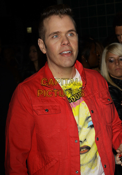 "PEREZ HILTON.Perez Hilton's  ""One Night  in Los Angeles""  held at the Wiltern Theatre, Los Angeles, California, USA, .11th September 2010..half length shirt madonna t-shirt band music face jacket  red .CAP/ADM/TC.©T. Conrad/AdMedia/Capital Pictures."