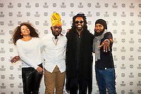 The Netherlands, Rotterdam, 22 January 2015. The 44th International Film Festival Rotterdam - IFFR 2015. Premiere God Loves the Fighter, form left; Alexa Bailey (producer), Lou Lyons (cast), Damian Marcano (director), Muhammad Muwakil (cast). Photo: 31pictures.nl / (c) 2015, www.31pictures.nl Copyright and ownership by photographer.<br />