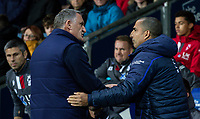 Blackburn Rovers' manager Tony Mowbray greets Nottingham Forest's manager Sabri Lamouchi (right) <br /> <br /> Photographer Andrew Kearns/CameraSport<br /> <br /> The EFL Sky Bet Championship - Blackburn Rovers v Nottingham Forest - Tuesday 1st October 2019  - Ewood Park - Blackburn<br /> <br /> World Copyright © 2019 CameraSport. All rights reserved. 43 Linden Ave. Countesthorpe. Leicester. England. LE8 5PG - Tel: +44 (0) 116 277 4147 - admin@camerasport.com - www.camerasport.com