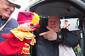 Covent Garden, London, UK. 11 May 2014. The festival starts with a procession around the streets of Covent Garden. Mr Punch meets a London Cabbie. The Covent Garden May Fayre and Puppet Festival takes place at St Paul's Church.