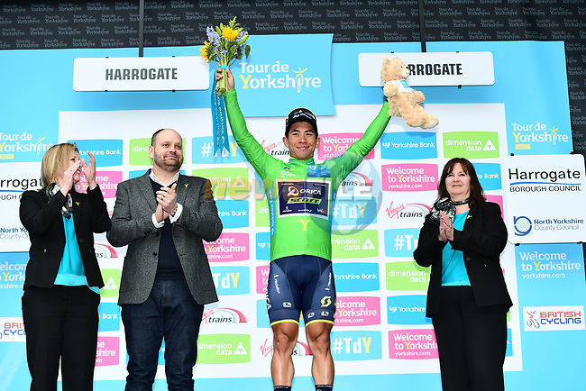 Caleb Ewan (AUS) Orica-Scott retains the points green jersey on the podium at the end of Stage 2 of the Tour de Yorkshire 2017 running 122.5km from Tadcaster to Harrogate, England. 29th April 2017. <br /> Picture: ASO/A.Broadway | Cyclefile<br /> <br /> <br /> All photos usage must carry mandatory copyright credit (&copy; Cyclefile | ASO/A.Broadway)