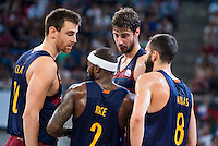 FC Barcelona Lassa's players Victor Claver, Tyrese Rice, Ante Tomic and Pau Ribas during the match of the semifinals of Supercopa of La Liga Endesa Madrid. September 23, Spain. 2016. (ALTERPHOTOS/BorjaB.Hojas)