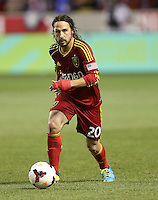 Ned Grabavoy #20 of Real Salt Lake moves the ball down field during a game against of D.C. United during the first half of the U.S. Open Cup Final on October  1, 2013 at Rio Tinto Stadium in Sandy, Utah.