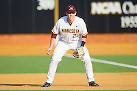 First baseman Nick O'Shea #23 of the Minnesota Golden Gophers on defense against the Towson Tigers at Gene Hooks Field on February 26, 2011 in Winston-Salem, North Carolina.  The Gophers defeated the Tigers 6-4.  Photo by Brian Westerholt / Sports On Film