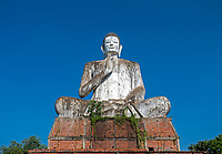 Buddha statue and Temple area and Monastery at Aek Phnom Angkorian, 11th Century Battambang Cambodia,