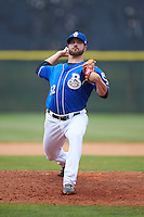 Biloxi Shuckers pitcher Damien Magnifico (32) delivers a pitch during a game against the Birmingham Barons on May 24, 2015 at Joe Davis Stadium in Huntsville, Alabama.  Birmingham defeated Biloxi 6-4 as the Shuckers are playing all games on the road, or neutral sites like their former home in Huntsville, until the teams new stadium is completed in early June.  (Mike Janes/Four Seam Images)