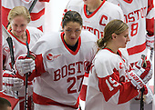 Sarah Bayersdorfer (BU - 23), Jordan Juron (BU - 27), Jenelle Kohanchuk (BU - 19) - The Boston University Terriers defeated the visiting Union College Dutchwomen 6-2 on Saturday, December 13, 2012, at Walter Brown Arena in Boston, Massachusetts.