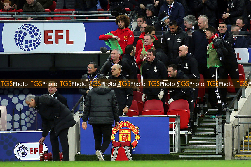 Wayne Rooney applauds Manchester United's second goal from the dug-out during Manchester United vs Southampton, EFL Cup Final Football at Wembley Stadium on 26th February 2017