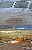"Chantilly, VA - December 11, 2003 -- The nine member crew of the B-29 Superfortress ""Enola Gay""  that flew the mission that dropped the first atomic bomb on Hiroshima, Japan on August 6, 1945 is memorialized on the side of the aircraft that is now on display at the Steven F. Udvar-Hazy Center in Chantilly, Virginia on December 11, 2003..Credit: Ron Sachs / CNP.(RESTRICTION: NO New York or New Jersey Newspapers or newspapers within a 75 mile radius of New York City)"