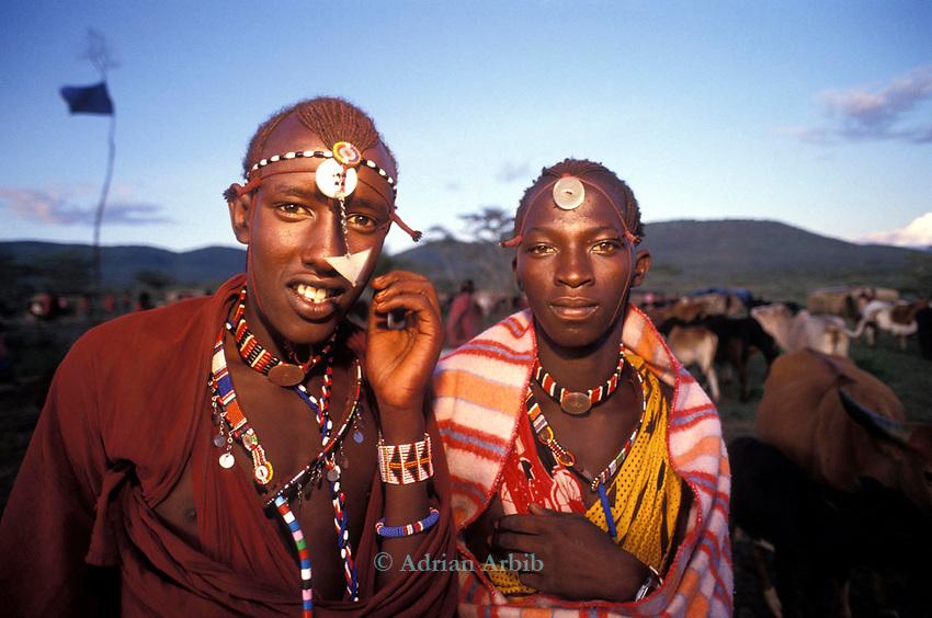 Maasai moran at an initiation ceremony into manhood, Kajiado, Kenya.