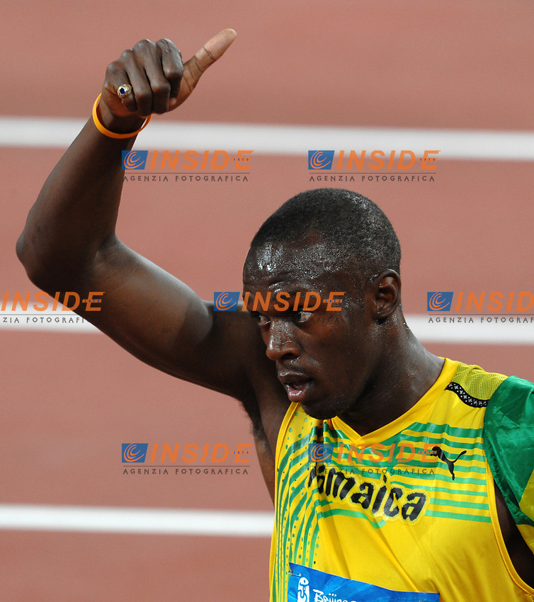 Usain Bolt celebrates after winning Men's 100m race with new world record 9.69<br /> Usain Bolt Esultanza dopo la vittoria nei 100 metri con il nuovo record del mondo<br /> National Stadium - Bird Nest<br /> Pechino - Beijing 16/8/2008 Olimpiadi 2008 Olympic Games<br /> Foto Andrea Staccioli Insidefoto