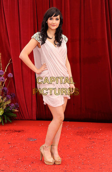 JACQUELINE JOSSA .At the British Soap Awards 2011, Granada TV Studios, Manchester, England, UK, MaY 14th 2011..arrivals full length pink beige ruched dress hand on hip french connection beaded shoulders .CAP/DH.©David Hitchens/Capital Pictures.
