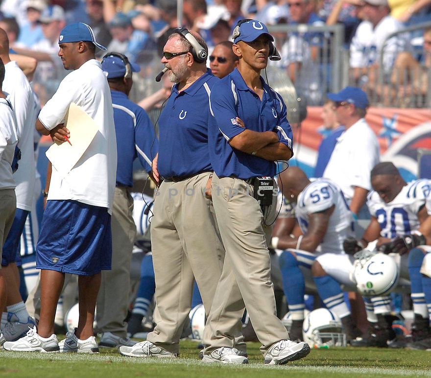 Tony Dungy, of the Indianapolis Colts, during their game against the Tennessee Titans on October 2, 2005...Colts win 31-10...Chris Bernacchi / SportPics