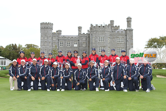 USA Team and their caddies for the 2011 Solheim Cup at Killeen Castle, Co.Meath...Photo Golffile/Jenny Matthews.(Photo credit should read Jenny Matthews www.golffile.ie)....This Picture has been sent you under the conditions enclosed by:.Newsfile Ltd..The Studio,.Millmount Abbey,.Drogheda,.Co Meath..Ireland..Tel: +353(0)41-9871240.Fax: +353(0)41-9871260.GSM: +353(0)86-2500958.email: pictures@newsfile.ie.www.newsfile.ie.
