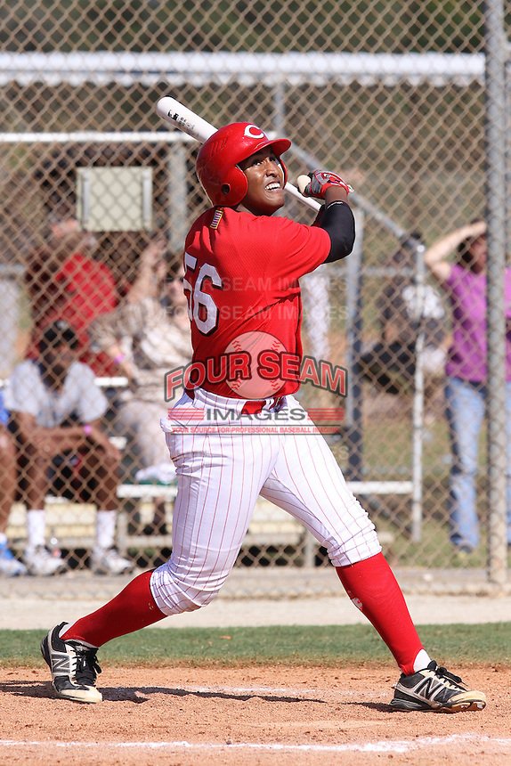Bryce Only, #56 of Huntley High School, Illinois playing for the Reds Midwest Scout during the WWBA World Champsionship 2012 at the Roger Dean Complex on October 28, 2012 in Jupiter, Florida. (Stacy Jo Grant/Four Seam Images)..
