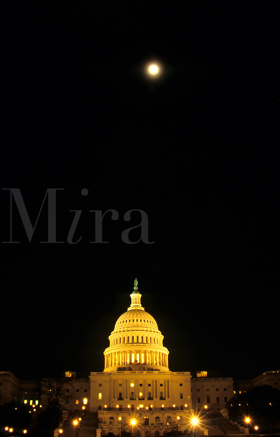 Capital Building at night with the moon  in Washington DC, USA