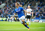 St Johnstone v Rosenborg....25.07.13  Europa League Qualifier<br /> Stevie May celebrates his goal<br /> Picture by Graeme Hart.<br /> Copyright Perthshire Picture Agency<br /> Tel: 01738 623350  Mobile: 07990 594431