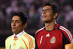 June 04 2008:  Jorge Campos (left) of Mexico goalie fame stands with  Oswaldo Sanchez (Santos) (1) current goalie for Mexico.  During Mexico's 2008 USA Tour in preparation for qualification for FIFA's 2010 World Cup, the national soccer team of Mexico was defeated by Argentina 1-4 at Qualcomm Stadium, in San Diego, CA.