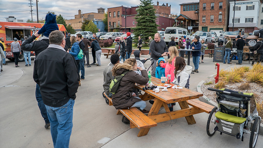 Food Truck Rendesvous at the Marquette Commons during the Fresh Coast Film Festival in October in Marquette, Michigan.