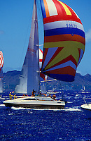 Sailboat and its crew sailing on deep blue ocean during the 1984 Pan Am Clipper cup, Honolulu
