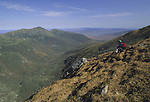 Hiker in the Great Gulf Wilderness area near Mt. Washington, White Mountain National Forest, New Hampshire, USA