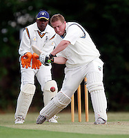 Paul Plumbly bats for Hornsey during the Middlesex County Cricket League Division Three game between Harrow Town and Hornsey at Rayners Lane on Sat 4 July, 2009.