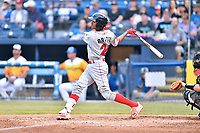 Lakewood BlueClaws second baseman Daniel Brito (21) swings at a pitch during a game against the Beer City Tourists at McCormick Field on June 1, 2017 in Asheville, North Carolina. The Tourists defeated the BlueClaws 8-5. (Tony Farlow/Four Seam Images)