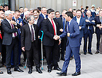 Visit of Italian Prime Minister Matteo Renzi in South Tyrol (Alto Adige), in Bolzano  on May 5, 2015. The Prime Minister makes a visit of Stahlbau Pichler company there were also contestation from student and teacher.