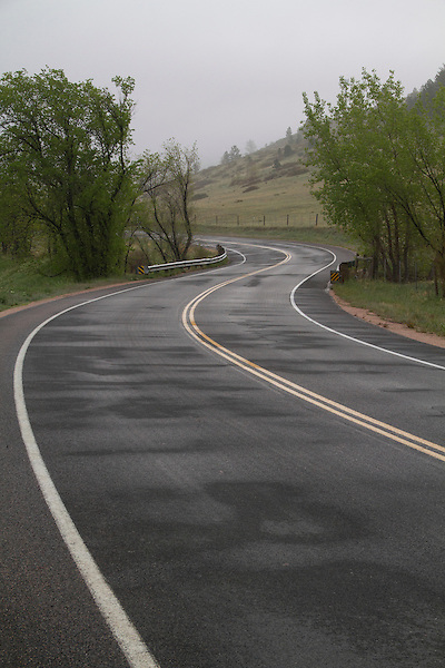 Rainy, mountain road in Boulder, Colorado,